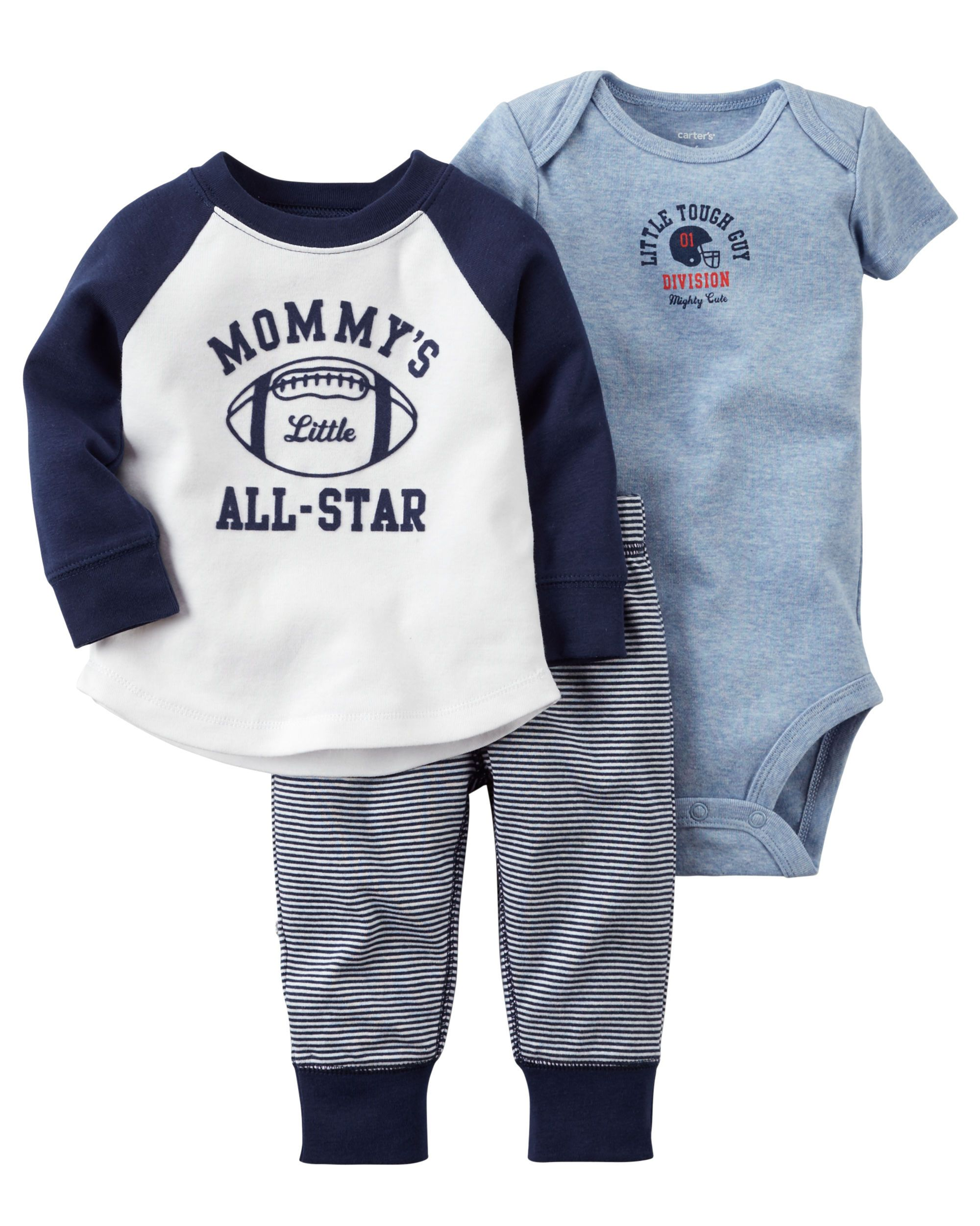 3d862ef77 Featuring a short-sleeve bodysuit and a super cute raglan tee, this  babysoft cotton set lets him mix and match with essential pants. Easy as 1,  2, 3!