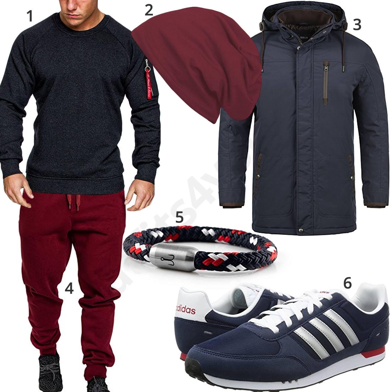 Lässiger Männer Style in Dunkelblau und Rot | Streetwear