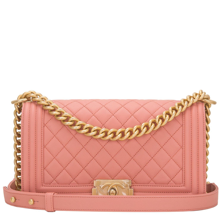 c5924dda2a5 Chanel Powder Pink Quilted Caviar Medium Boy Bag