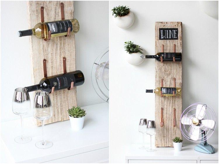 Porte bouteille original fait maison - idées créatives et fiches de bricolage | Wijnrek, Houten ...