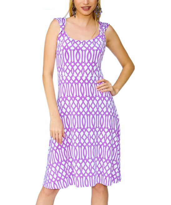 Lilac Geometric A-Line Dress