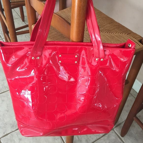 Kate Spade Red Patent Leather Tote In Excellent Condition Besides A