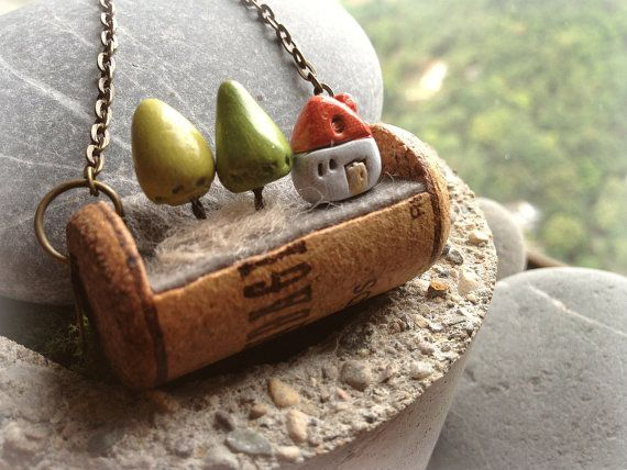 Miniature Wine cork necklace antique red house & by Melaleuca, $40.00