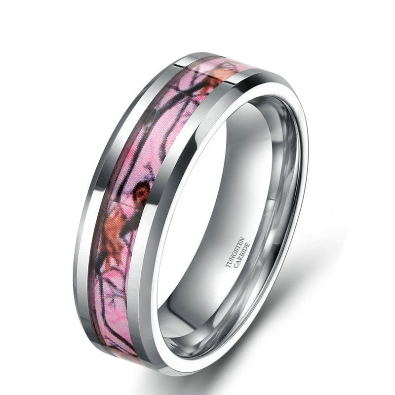 womens pink camo inlay tungsten carbide ring band wedding engagement rings couples his hers outdoorsman hunter - Pink Camo Wedding Rings For Her