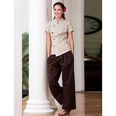 Spa uniforms women s short sleeve mandarin collar spa for Spa uniform nz