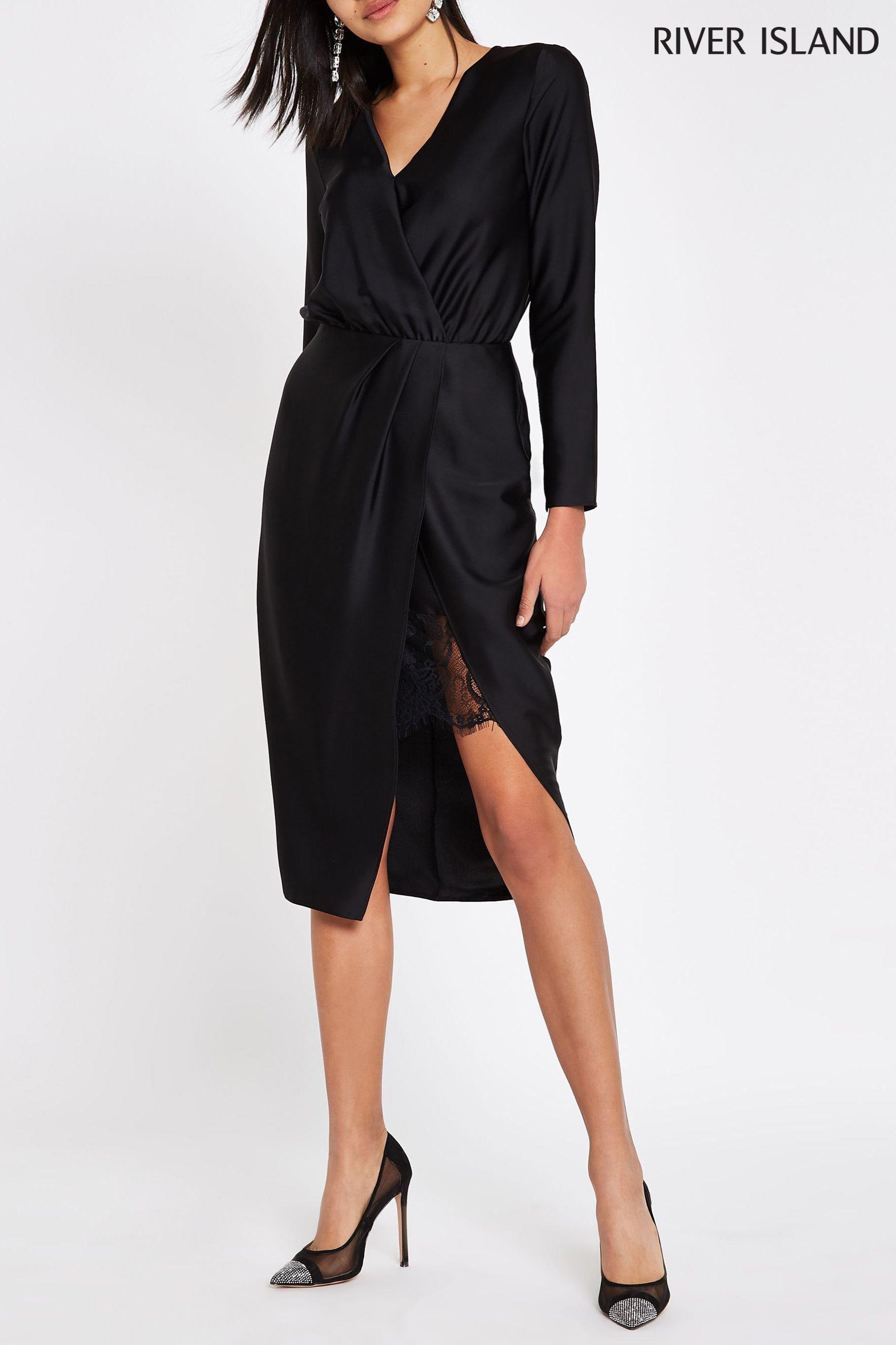 81aaaf9e0 Womens River Island Wrap Long Sleeve Satin Dress - Black | art in ...