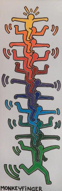 MONKEYFINGER, né en 1965 Hommage à Keith Haring Acrylique sur toile, signée
