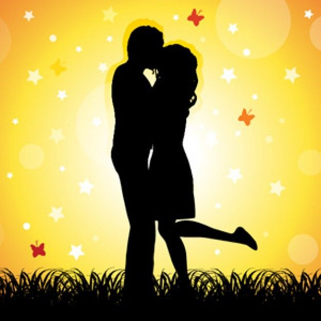 Loved Up Romantic Young Couple In Silhouette With Images