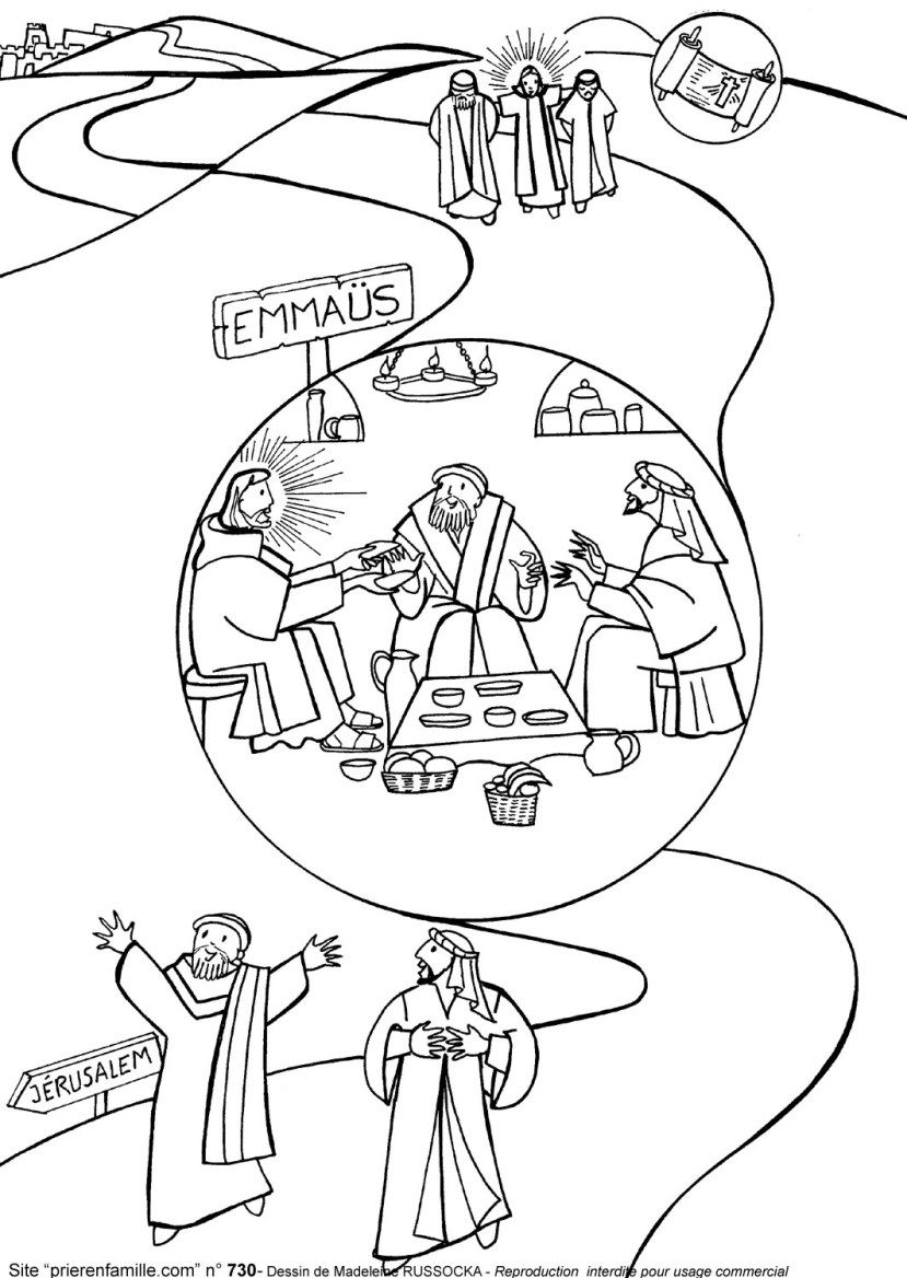 Free coloring pages road to emmaus -  Story Of Jesus And The Disciples On The Road To Emmaus