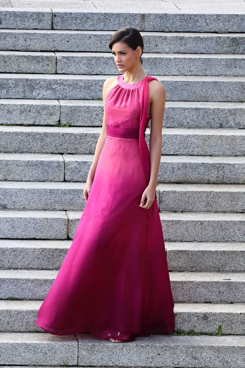 Vestido Largo degradado escote halter Gaea | Pinterest | Vestido ...
