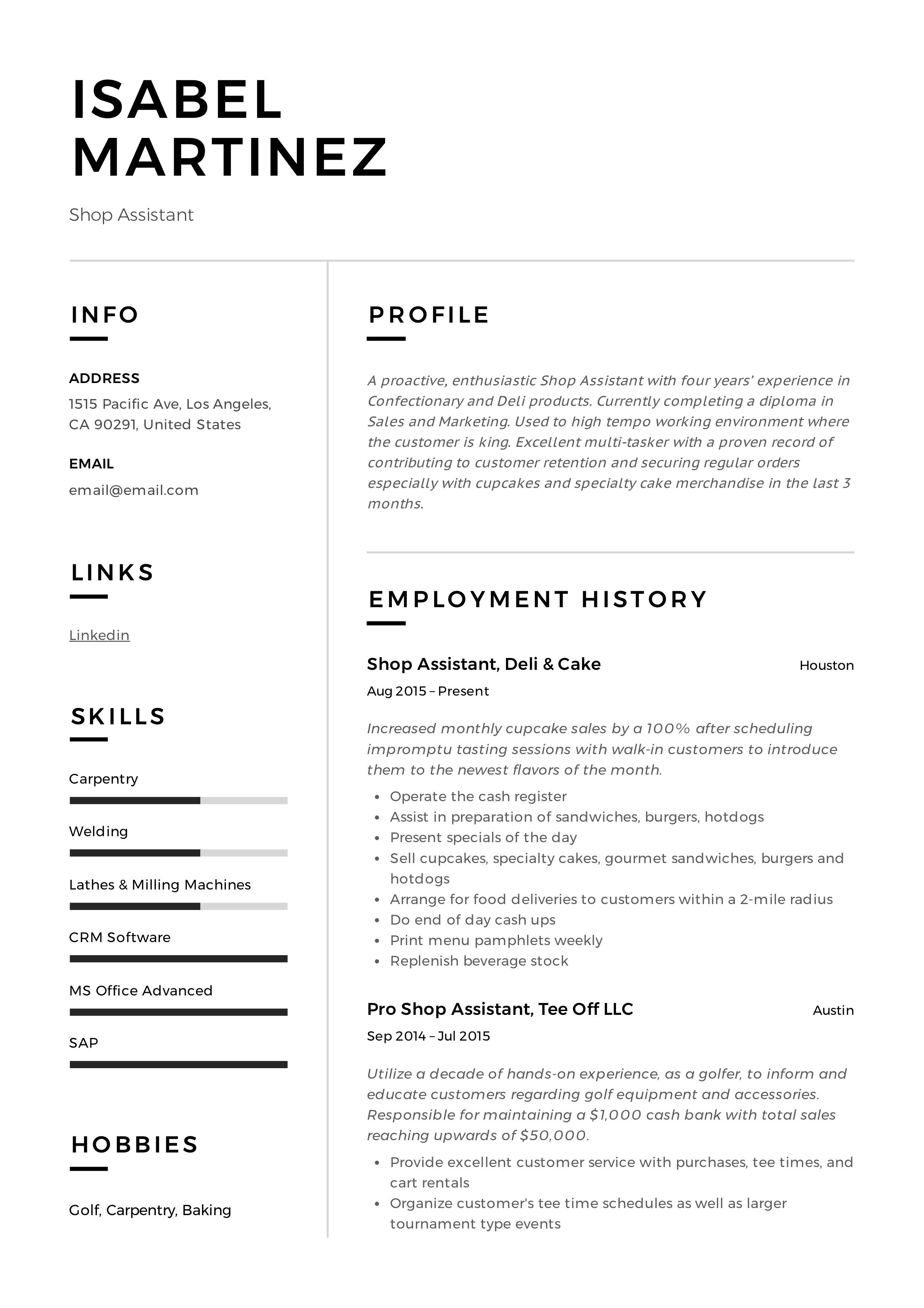 Professional Shop assistant Resume, template, design, tips