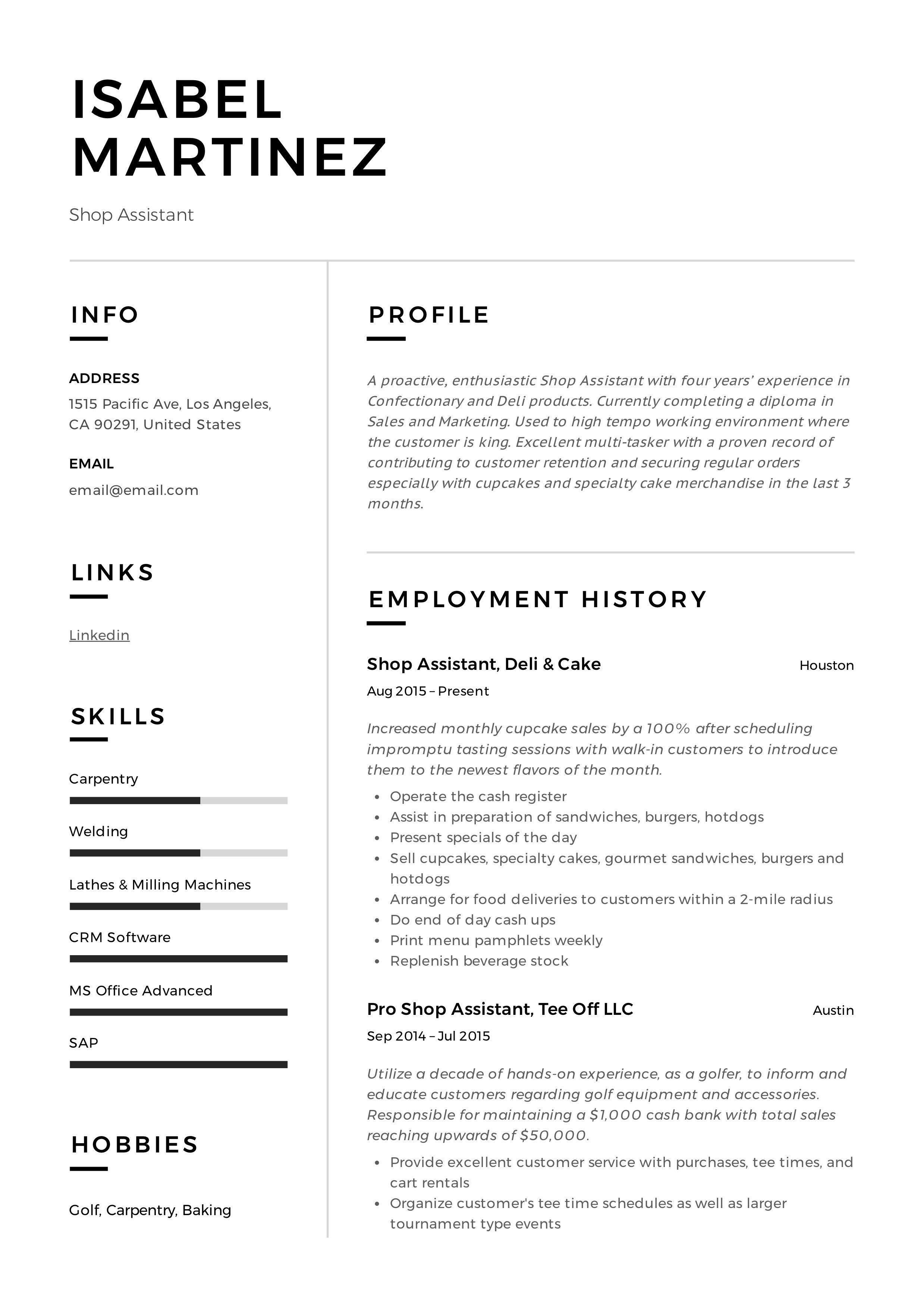 Professional Shop assistant Resume, template, design, tips