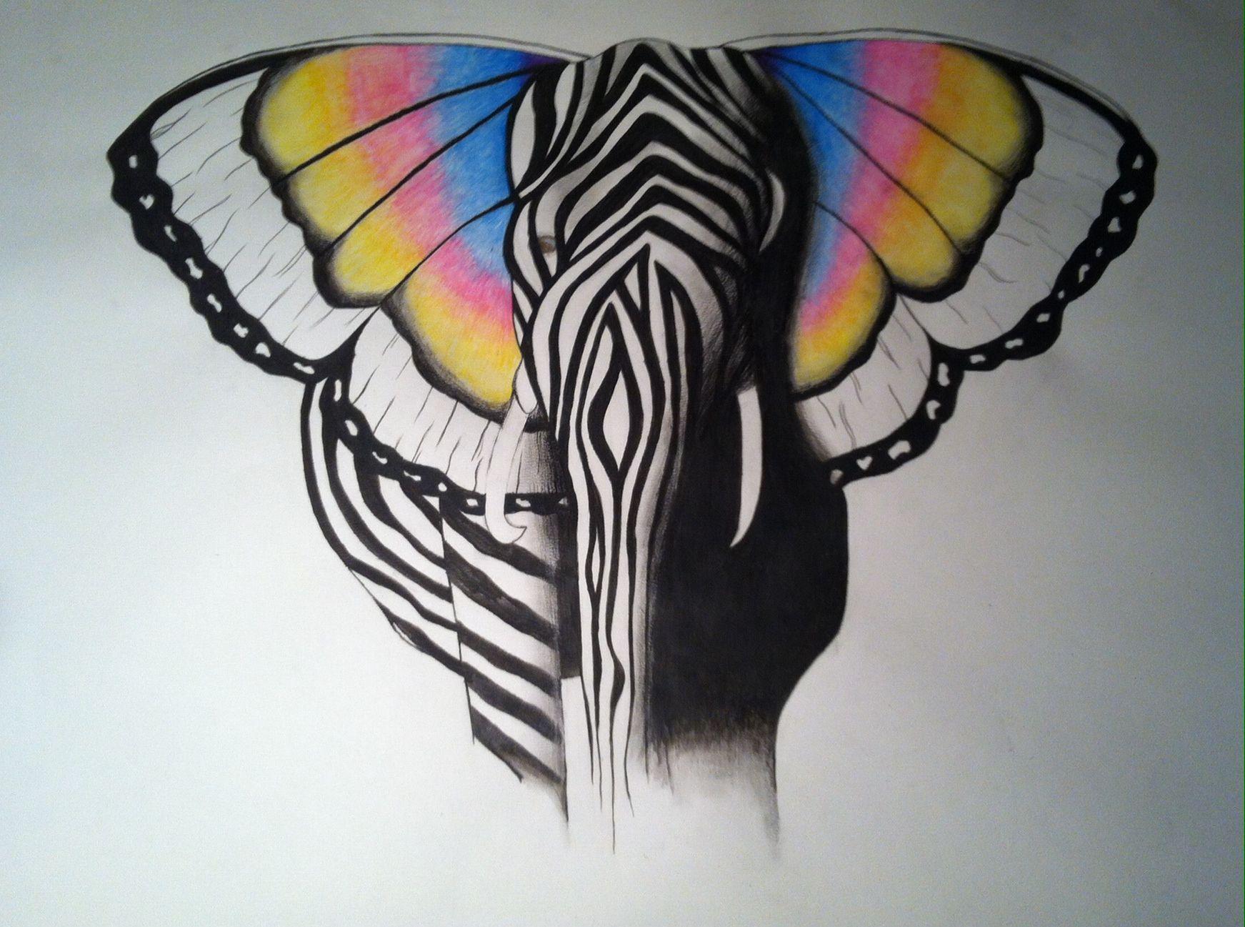 0faf66103 elephant #butterfly #zebra #sketch #watercolour #drawing | Art ...
