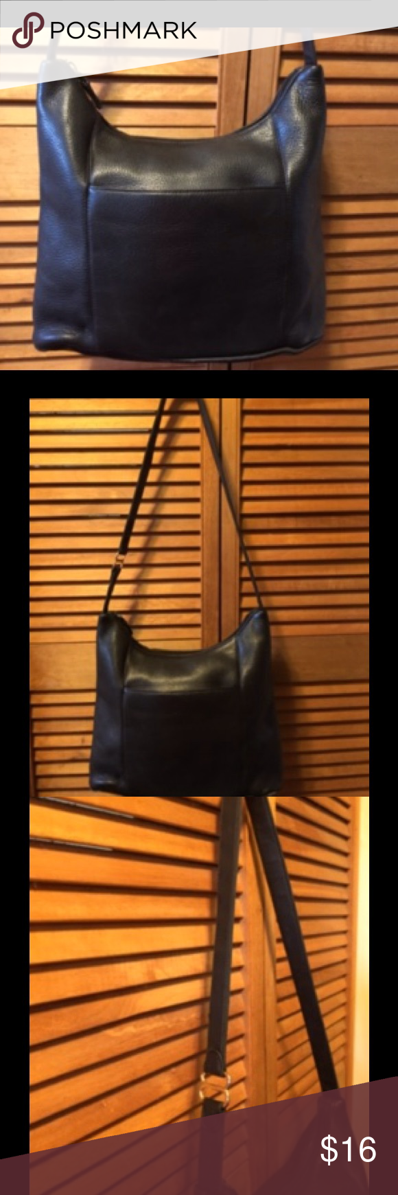 """Carlo D'Santi Black Leather Purse Black leather purse with outside open pocket on the front and back, goldtone hardware, cloth lining with a zippered side pocket, and top zippered closure. Signs of wear on the corners, otherwise in great condition. 13""""x10""""x 4 1/2"""" wide bottom. Carlo D'Santi Bags Shoulder Bags"""