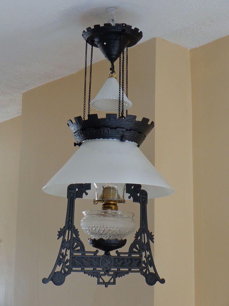 Antique 1870s Charles Parker Cast Iron Hanging Oil Lamp COMPLETE LampsVintage LightingKerosene