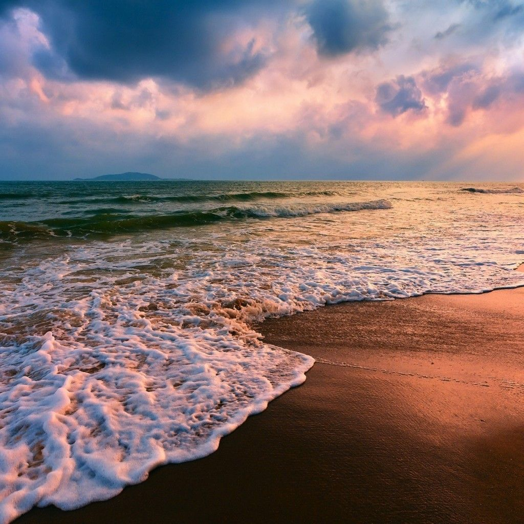 sunset beach waves Awesome iPad Air Wallpapers, iPad