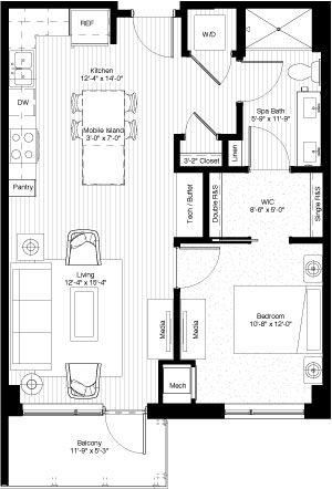 one bedroom, 735 square feet, floors 3-11, PH1  PH2 Floor Plans