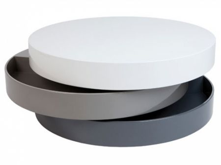 Spiral Rotating Storage White & Grey Coffee Table - Spiral Rotating Storage White & Grey Coffee Table Living Room