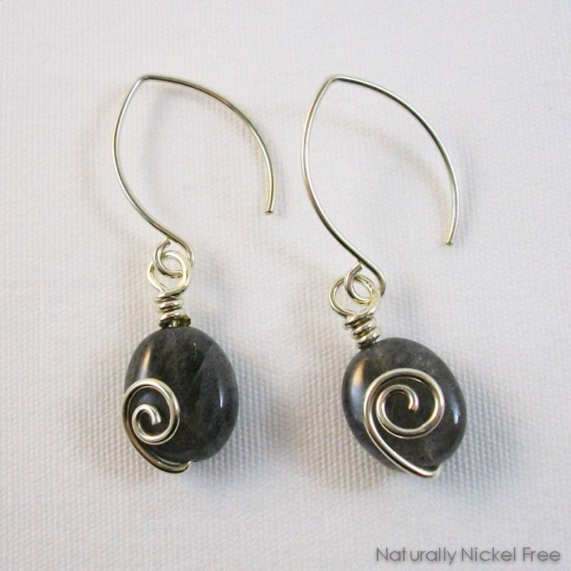 adb0d58ef Labradorite Spiral Dangle Earrings by Naturally Nickel Free Jewelry For  Sensitive Skin