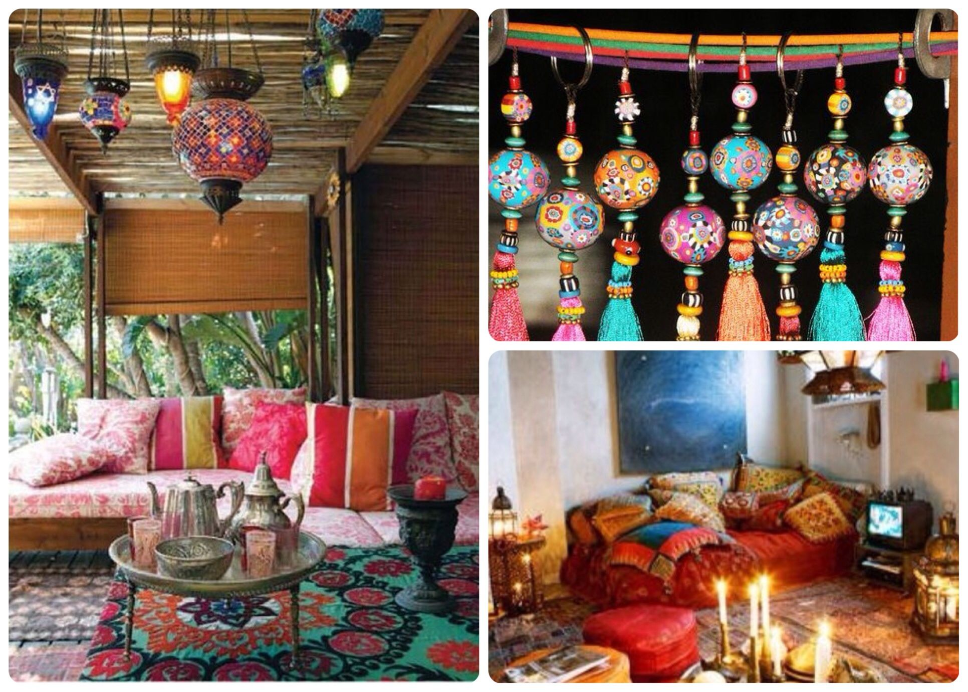 Boho deco i love those hanging balls and tassels i 39 d for Ideas deco estilo