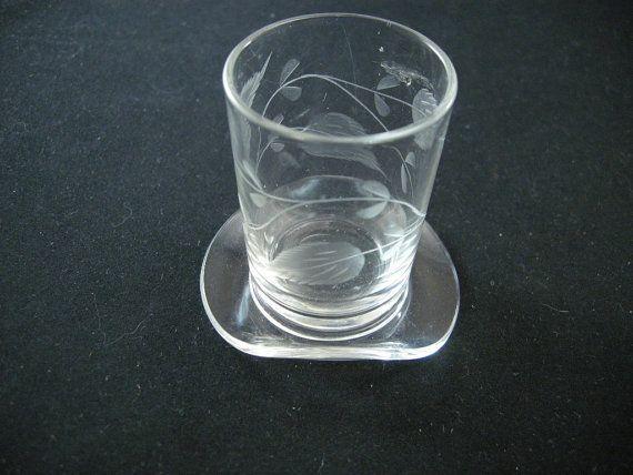 Vintage Shot Glasses TOP HAT etched Shot Glass by cerritorose