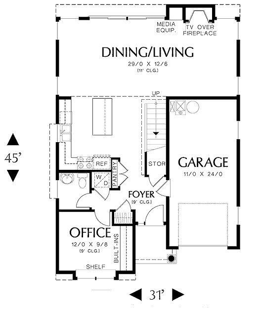 Plano de casa moderna con oficina y garaje doble home pinterest planos de casas modernas for Planos de oficinas pequenas