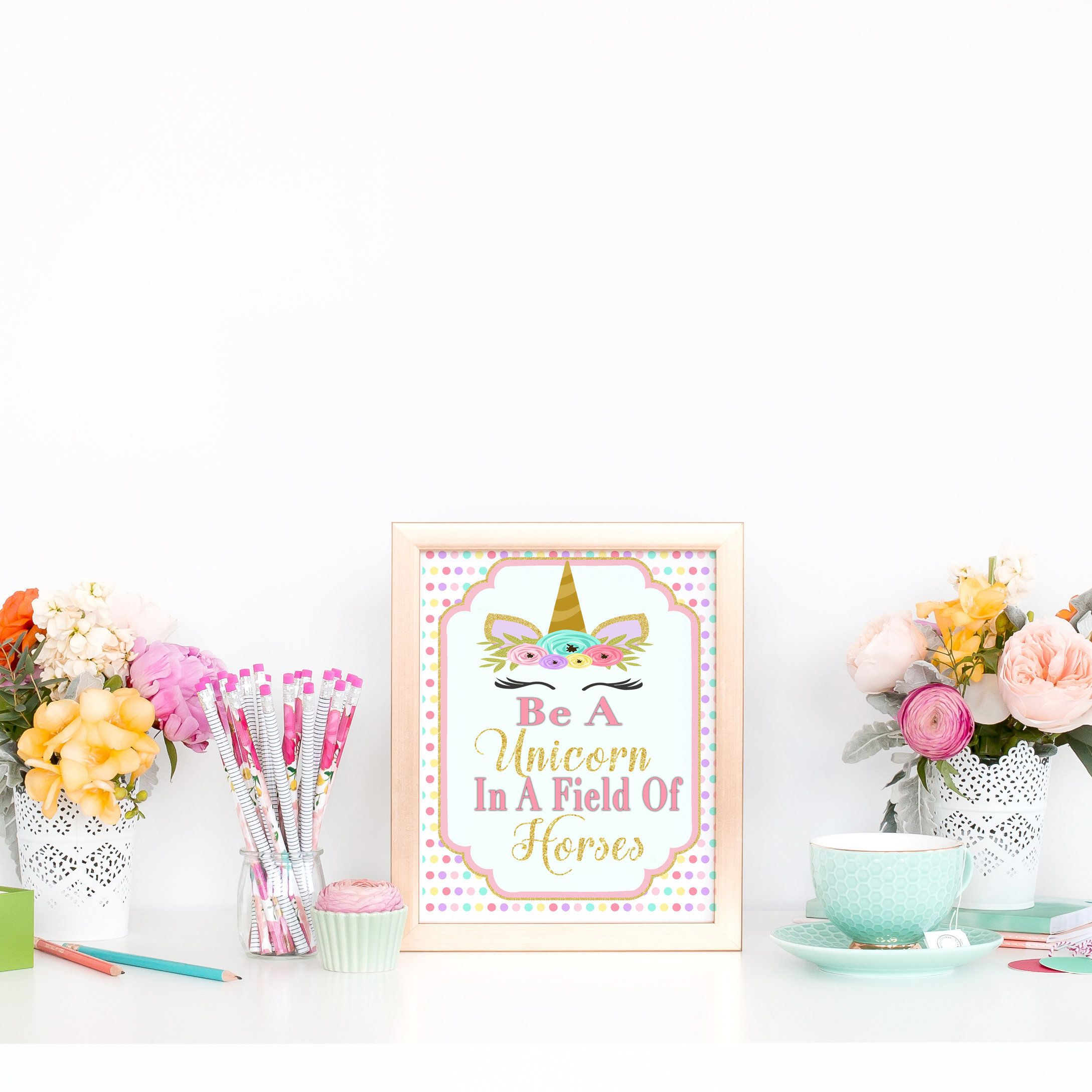 PrintableUnicorn Birthday Party Decorations, First Birthday