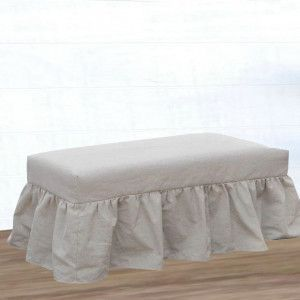 Classic Farmhouse Bench And Long Slip Cover Leather