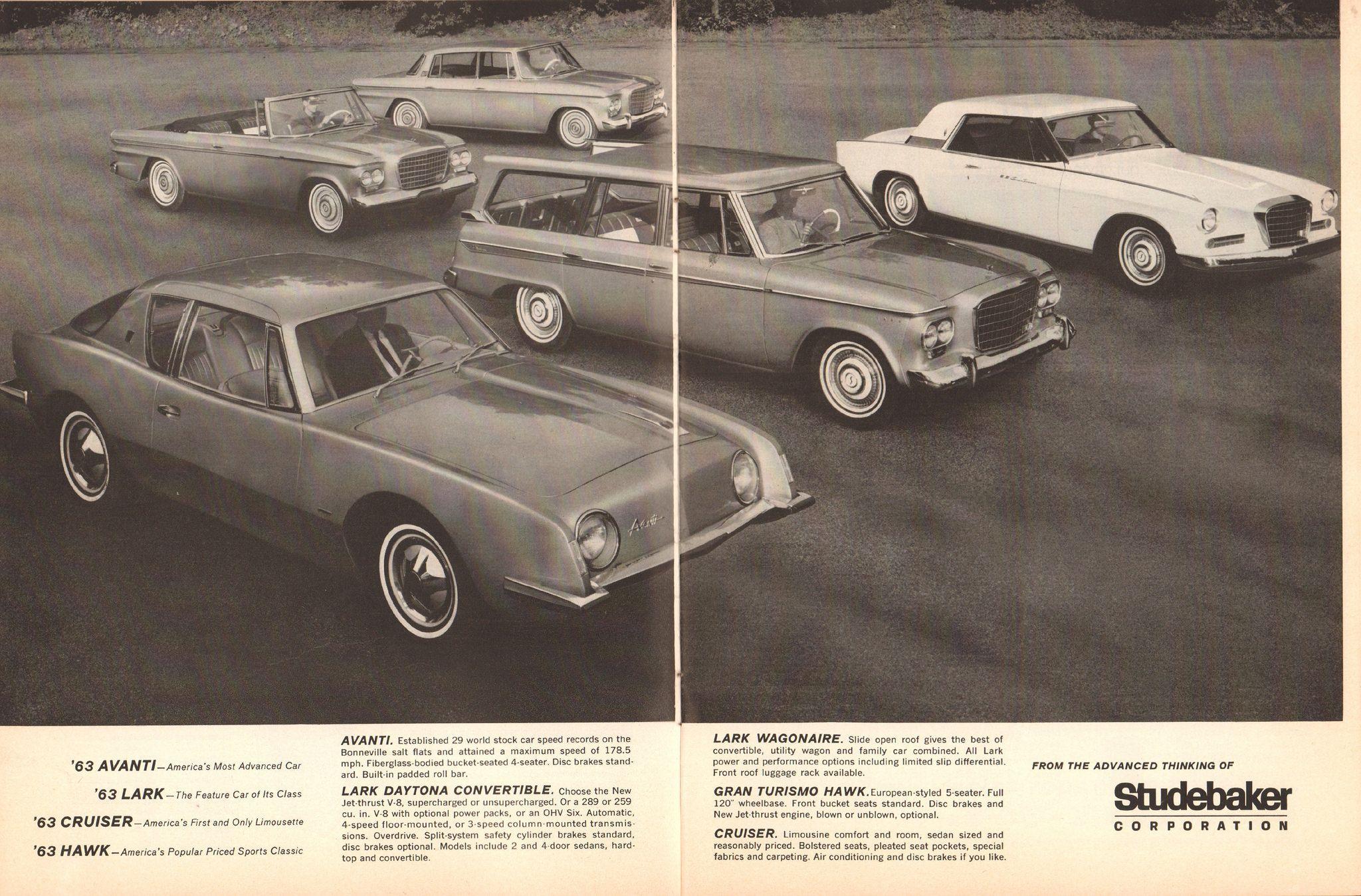 1963 Studebaker Avanti Lark Cruiser Hawk Advertisement Motor
