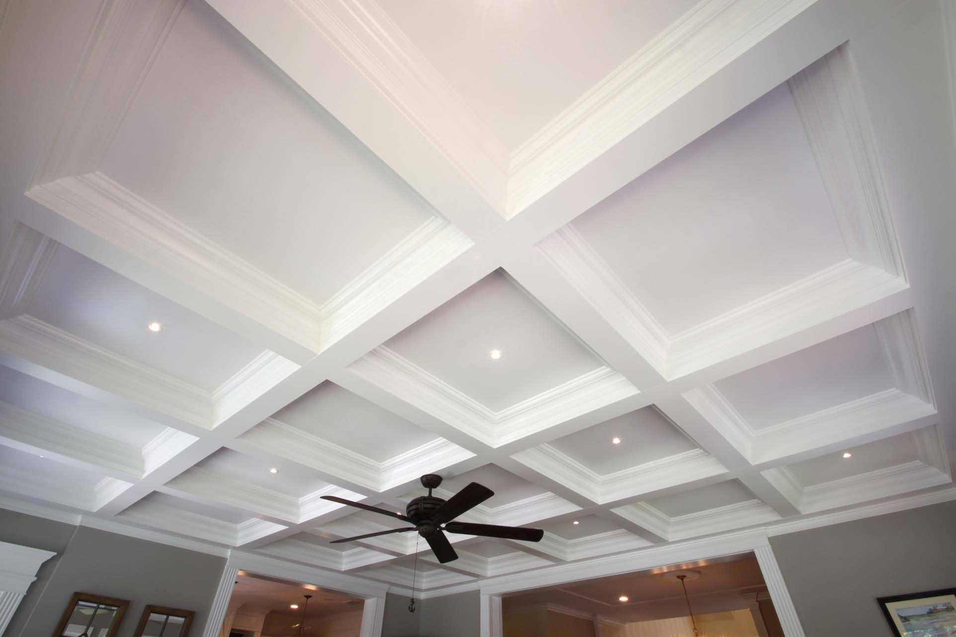 Coffered Ceiling Pictures With Coffered Ceiling Also Ceiling Fan