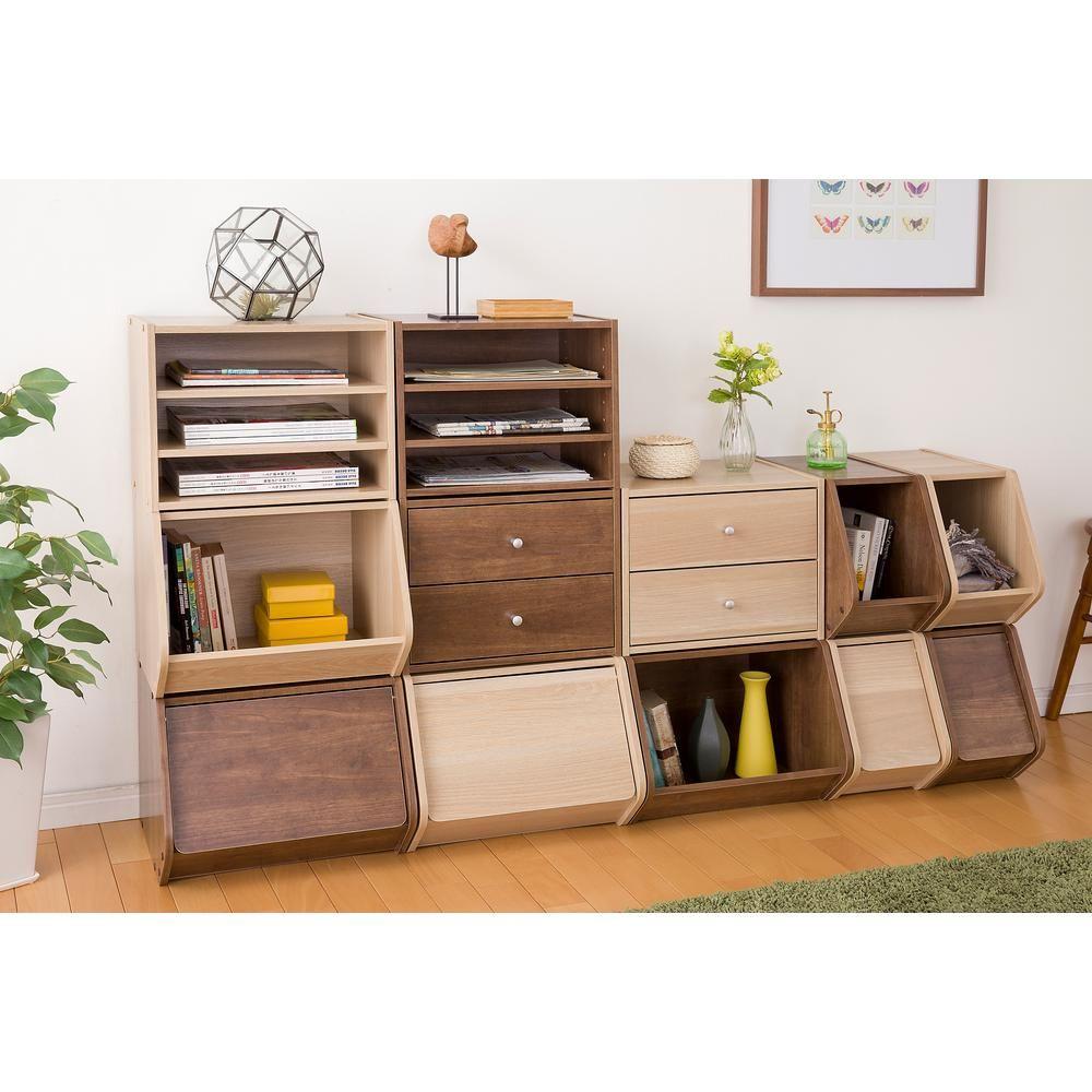 Iris Tachi Modular Light Brown Wood Storage Organizer Box With Adjustable Shelves 596136 Wood Storage Box Cube Storage Wood Storage