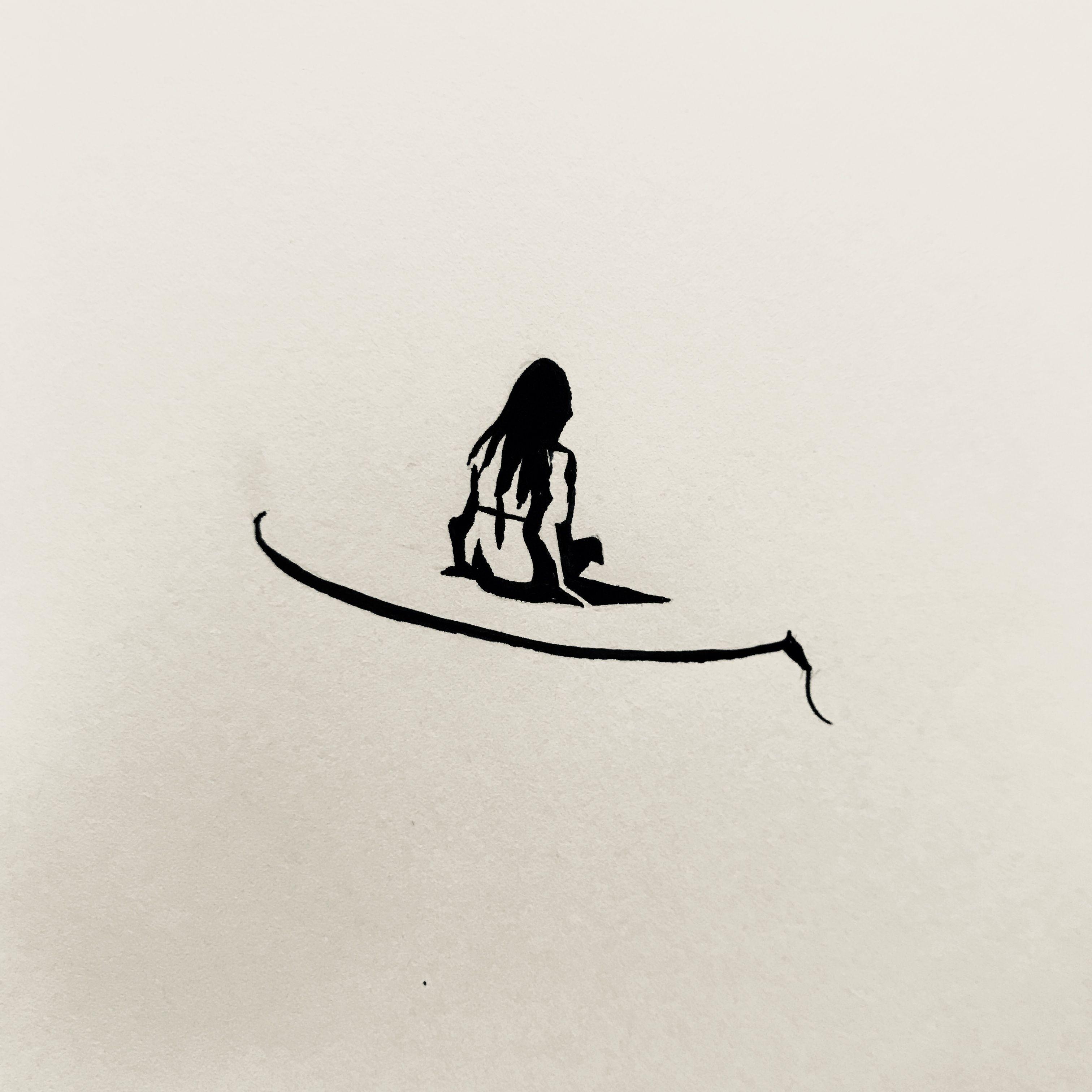surf surfer surfgirl bw illustration drawing by