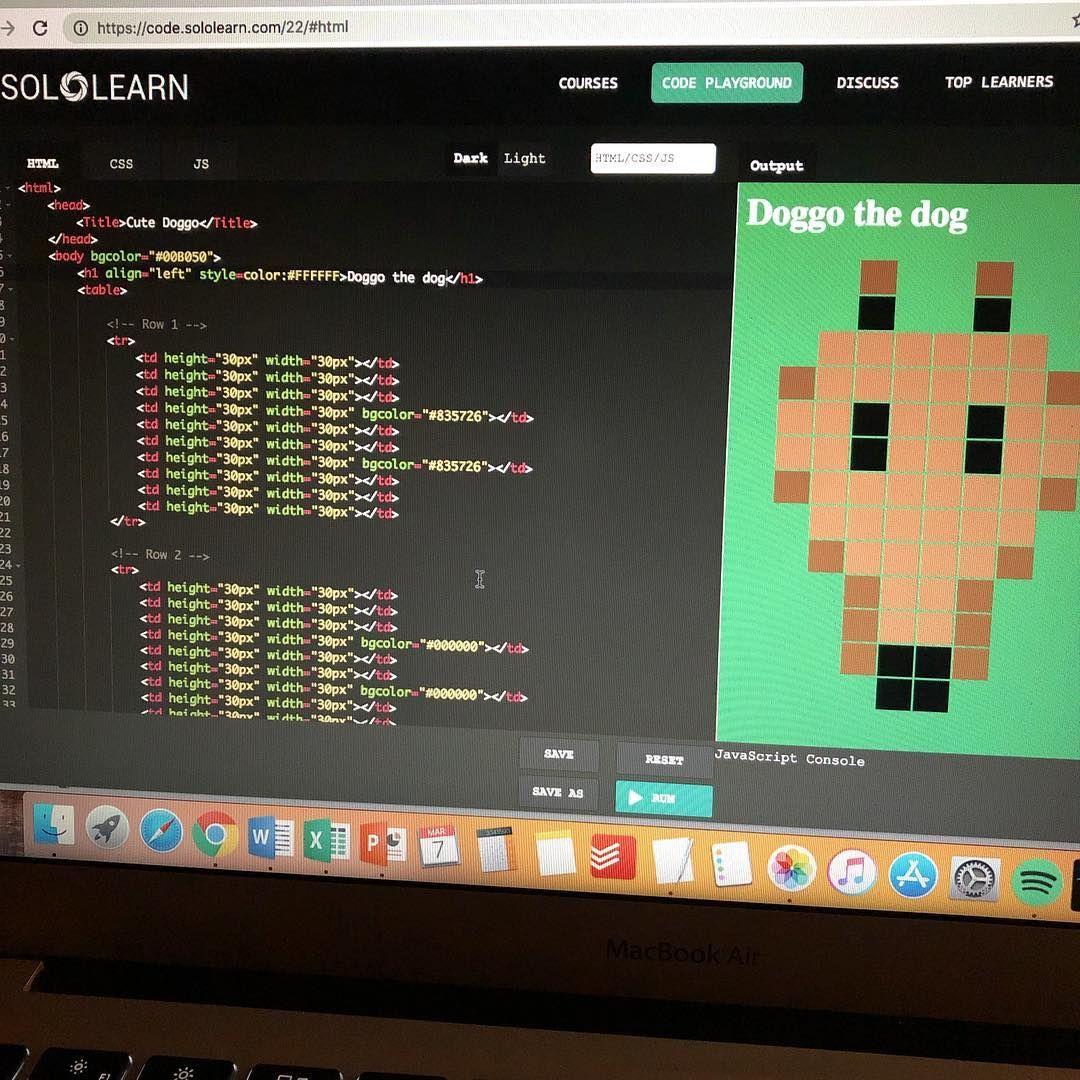 Learning the basics of HTML code. • • • code coding