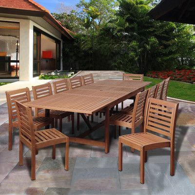 Beachcrest Home Tobago Eucalyptus 13 Piece Dining Set