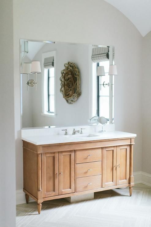 Cheap Illuminated Bathroom Mirrors: Amazing Bathroom Features A Honey Colored Washstand With A