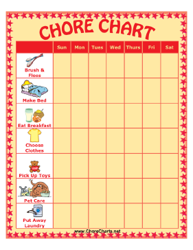 Chore chart for pre-K | Family Traditions to Start | Pinterest ...