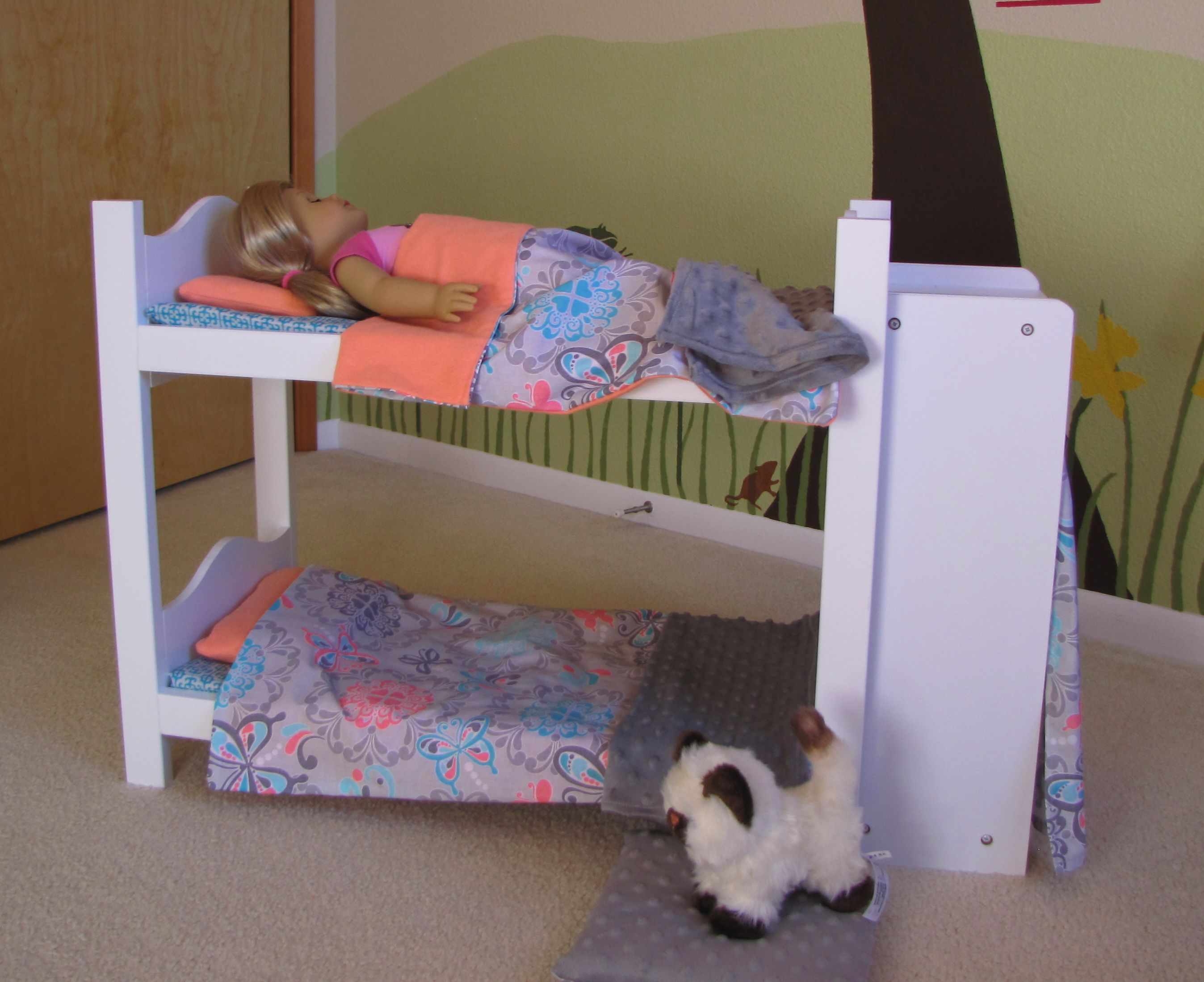 "american girl doll bed diy. white wood 18"" doll bed from walmart"