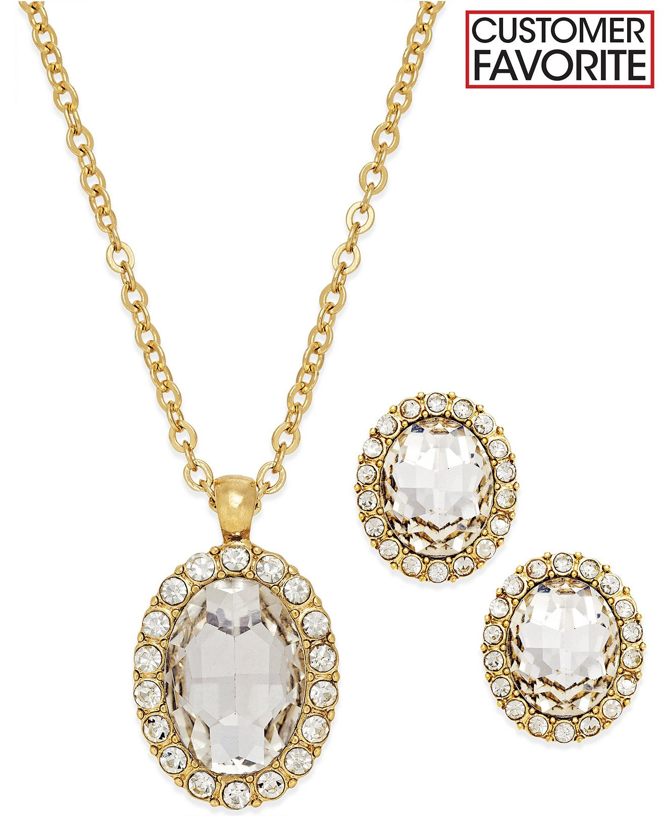 Charter club goldtone oval earring and necklace boxed set jewelry