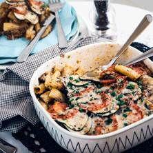Provencalsk nötfärsgratäng med zucchini, tomat och parmesan
