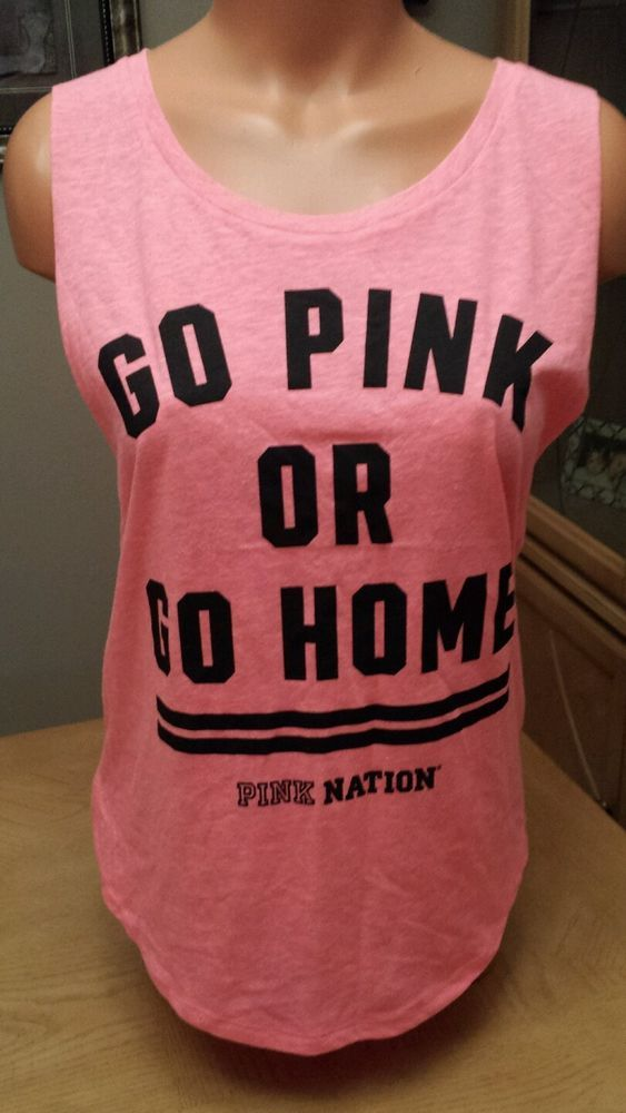 a624c29d93e638 Victorias Secret PINK Tank Top Go Pink or Go Home Small Victoria s VS  Muscle in Clothing