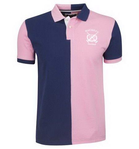 ralph lauren outlet Hackett London Half Split Polo Team Shirt Navy Pink  http://