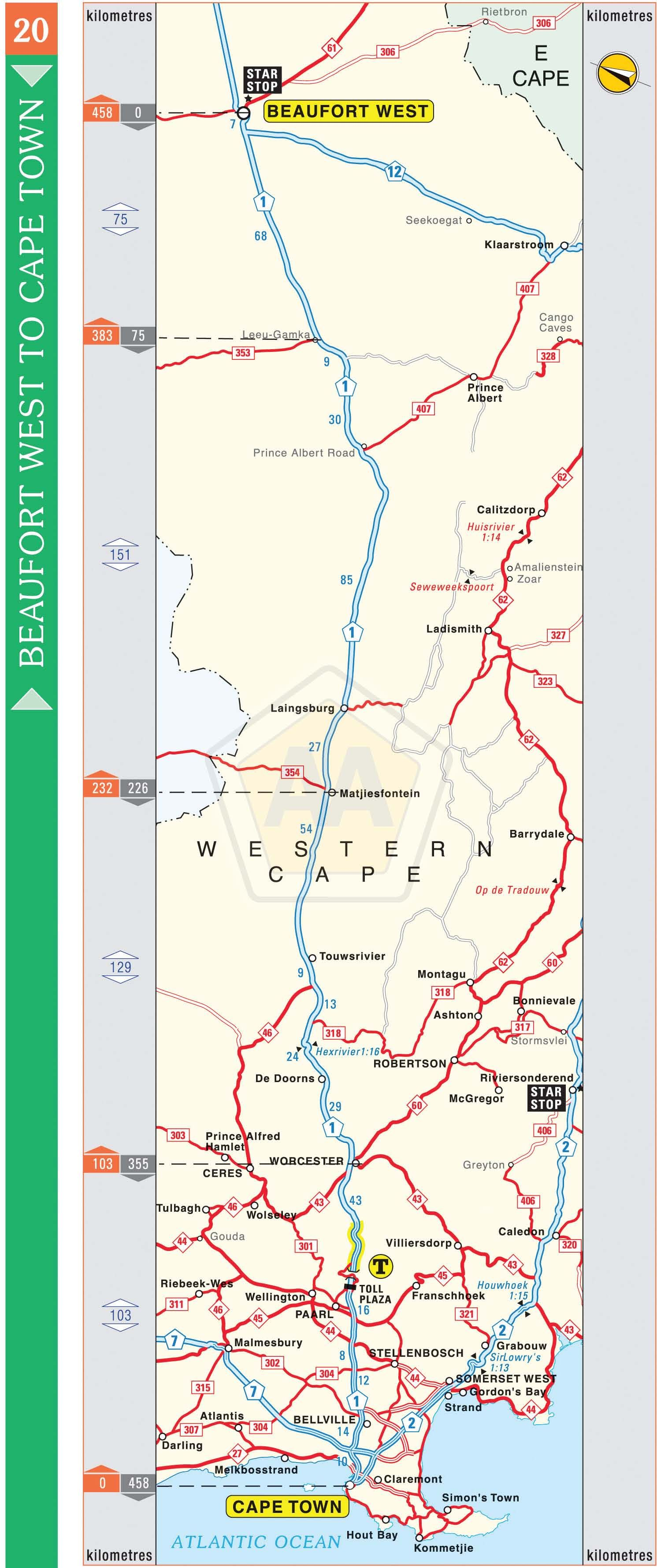 Beaufort West to Cape Town Automobile Association