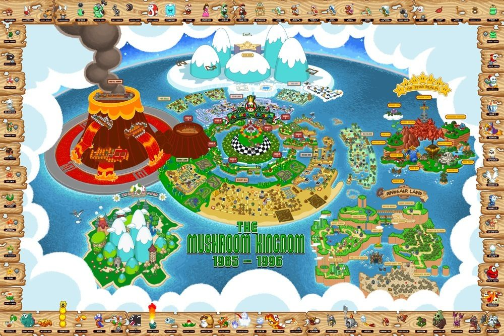 $45 for a huge map of the Mushroom Kingdom! Amazing work by Bill Mudron