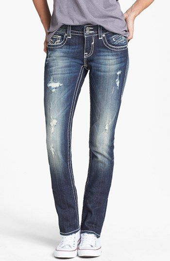 e0d8b7ce591 Vigoss Embellished Distressed Bootcut Jeans (Dark) (Juniors)