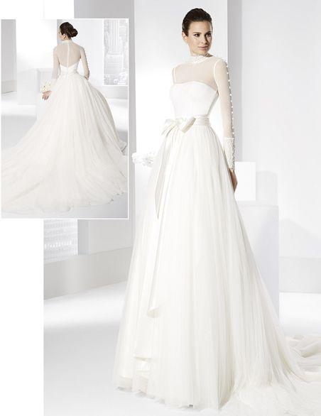 vestido de novia línea princesa con voluminosa falda de tul seda
