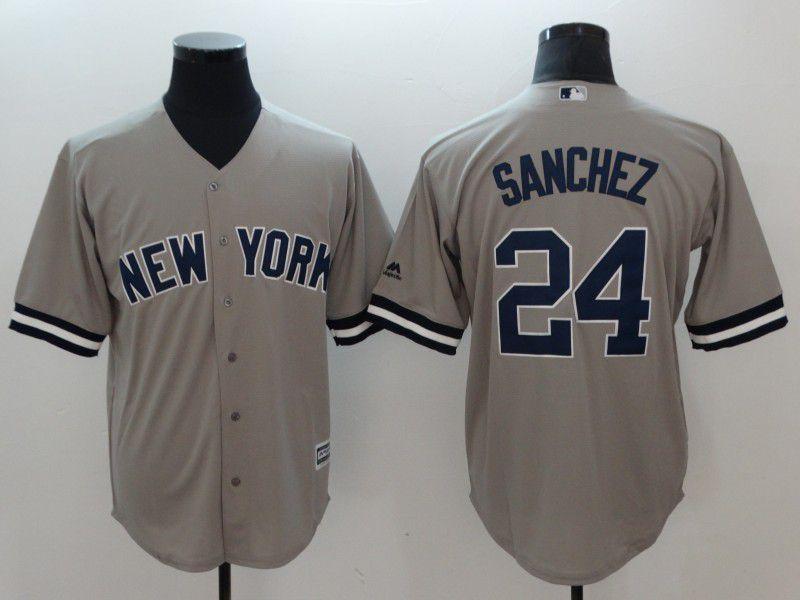 Men New York Yankees 24 Sanchez Grey Game MLB Jerseys  e13138c8e
