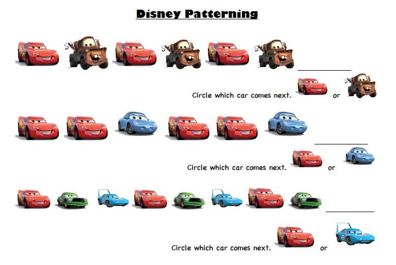 Preschool Car Printables Disney Pixar Cars Prek Printable Activity