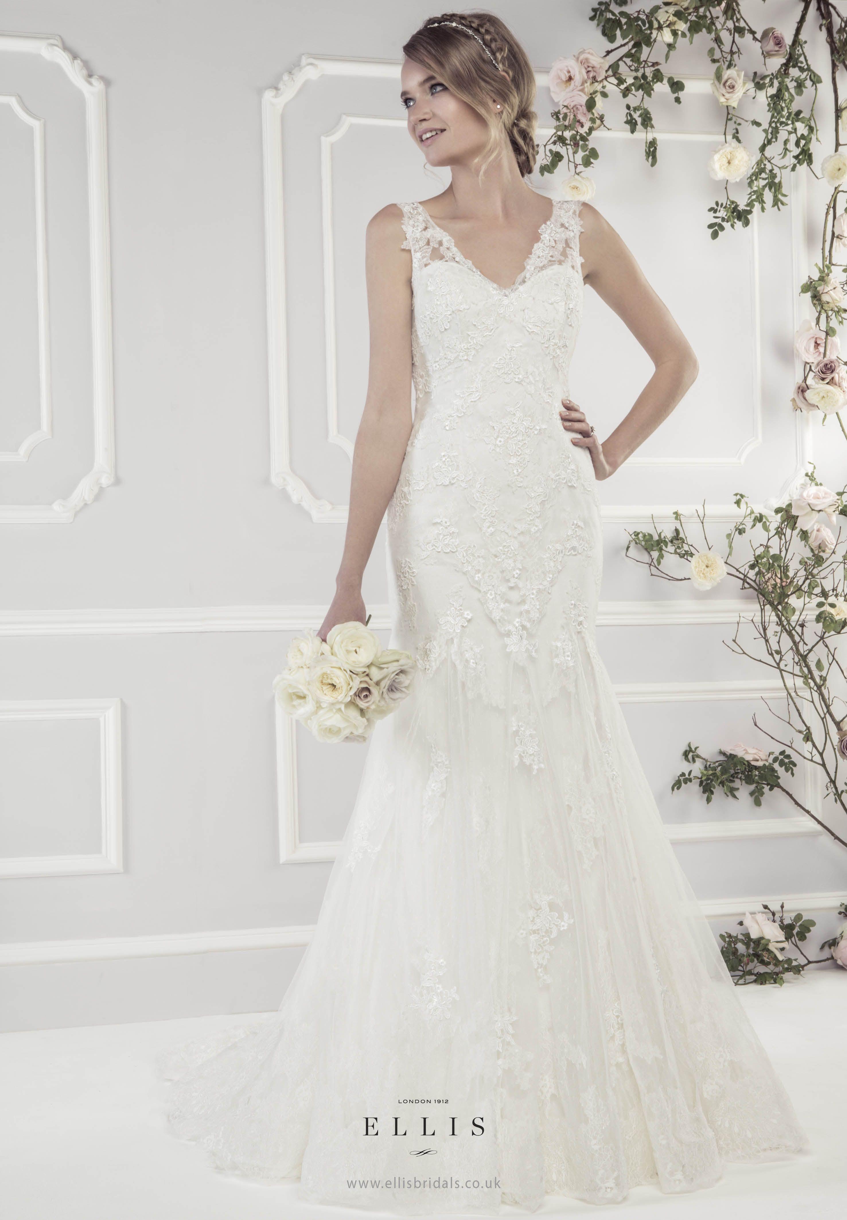 a62a6a79e #Ellis2015 Style 11433 'Elegant Soft Tulle Fluted Dress with Appliqué  Guipure Lace Motifs'