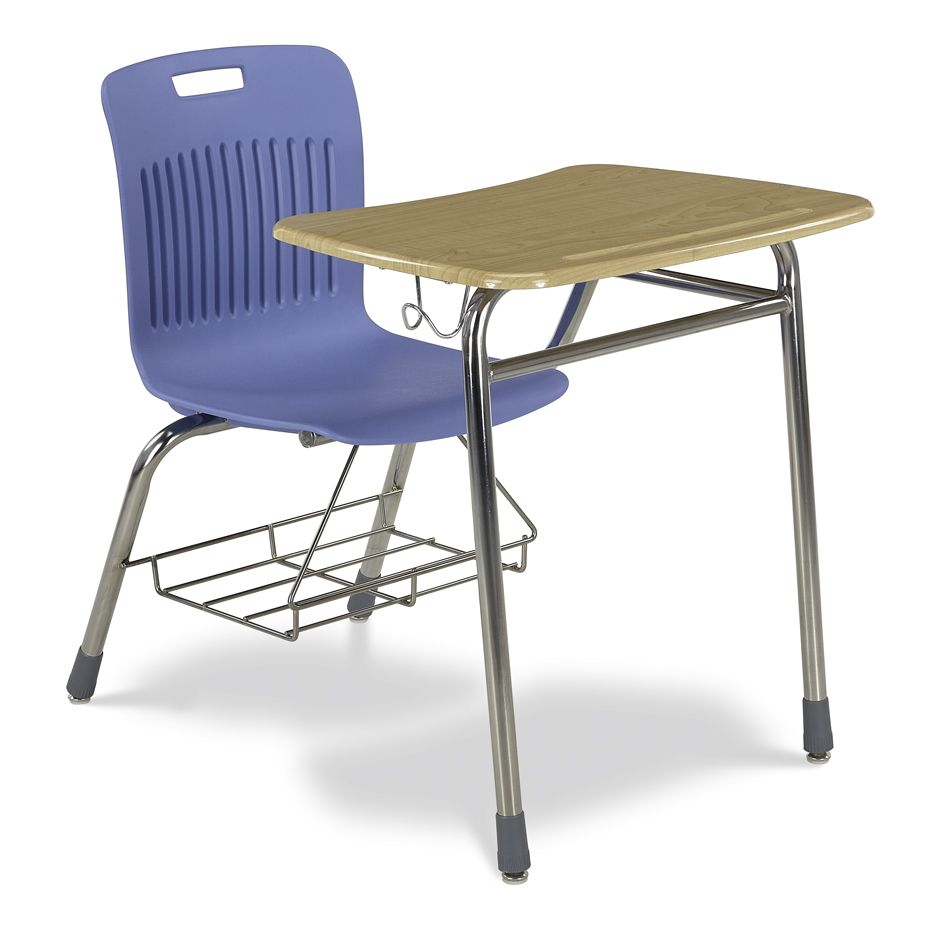 virco analogy combo desk with bookrack and backpack hanger