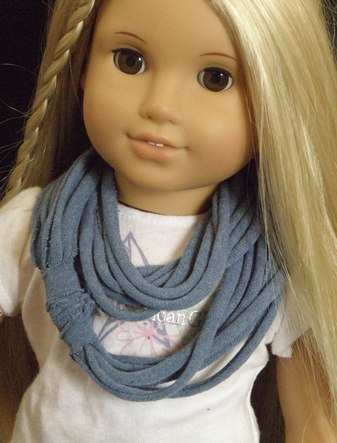 Infinity Scarf for Girls and American Girl Dolls DENIM